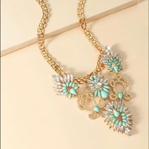 TEAL RHINESTONE BOHO STATEMENT NECKLACE